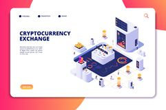 Isometric έννοια ανταλλαγής Cryptocurrency Ανταλλαγή Blockchain, crypto εμπορικές συναλλαγές Ψηφιακό διάνυσμα οικονομικών απεικόνιση αποθεμάτων