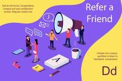 Isometric έννοια απεικόνισης Shou ανθρώπων στο μικρόφωνο με Refer λέξεις φίλων διανυσματική απεικόνιση