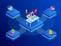 Isometric έννοια για την επιχειρησιακή ομαδική εργασία και το ψηφιακό μάρκετινγκ, δημιουργική καινοτομία Επίπεδο σχέδιο εμβλημάτω διανυσματική απεικόνιση