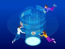Isometric έννοια της διαχείρισης στρατολόγησης Απασχόληση, κοινωνική παρουσίαση για την πρόσληψη Εφαρμογή για τον υπάλληλο διανυσματική απεικόνιση