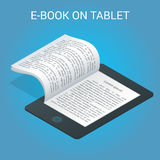 Isometric έννοια EBook Πανεπιστημιακή τάξη υπολογιστών Σε απευθείας σύνδεση εκπαίδευση και βιβλιοθήκη με τους σπουδαστές Επίπεδος Στοκ Φωτογραφίες