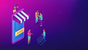 Isometric αγορές on-line με την απεικόνιση συσκευών Στοκ Εικόνες