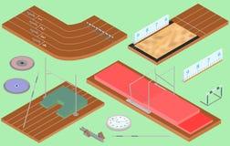 Isometric αθλητισμός - αθλητικός εξοπλισμός, τομέας, πορείες απεικόνιση αποθεμάτων