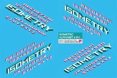 Isometric αλφάβητο 4 σε 1 τρισδιάστατοι επιστολές και αριθμοί Στοκ Φωτογραφία