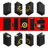 Isometric αναδρομική κάμερα φωτογραφιών, τρισδιάστατη Σύνολο 1 Στοκ Εικόνες