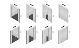 Isometric ανοιγμένες και κλειστές πόρτες ανελκυστήρων καθορισμένες επίσης corel σύρετε το διάνυσμα απεικόνισης διανυσματική απεικόνιση