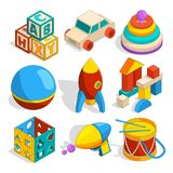Isometric απεικονίσεις των παιχνιδιών των διάφορων παιδιών διανυσματική απεικόνιση
