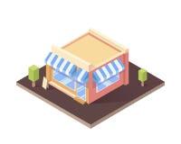 Isometric απομονωμένο κτήριο καφές ή κατάστημα Επίπεδη διανυσματική απεικόνιση διανυσματική απεικόνιση