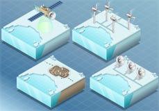 Isometric αρκτικός δορυφόρος, ανεμόμυλος, ορυχείο, ραντάρ απεικόνιση αποθεμάτων