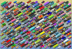 Isometric αυτοκίνητα, λεωφορεία, φορτηγά, φορτηγά, μέγα συλλογή όλα μέσα Στοκ φωτογραφίες με δικαίωμα ελεύθερης χρήσης