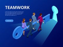 Isometric βασική έννοια επιχειρησιακής επιτυχίας Κλειδί επιχειρησιακής ομαδικής εργασίας της έννοιας επιτυχίας Ανυψωτικό κλειδί ο Στοκ Εικόνα