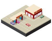 Isometric βενζινάδικο με τα αυτοκίνητα Στοκ Φωτογραφίες