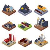 Isometric βιομηχανία άνθρακα με τους εργαζομένους στο ορυχείο με τον εκσκαφέα, τον ανθρακωρύχο και τον εξοπλισμό ελεύθερη απεικόνιση δικαιώματος