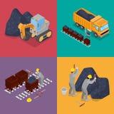 Isometric βιομηχανία άνθρακα με τους εργαζομένους στο ορυχείο, τον εκσκαφέα και τον εξοπλισμό διανυσματική απεικόνιση