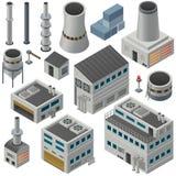 Isometric βιομηχανικά κτήρια και άλλα αντικείμενα Στοκ Εικόνες