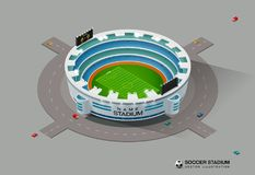 Isometric γήπεδο ποδοσφαίρου ποδοσφαίρου Στοκ φωτογραφία με δικαίωμα ελεύθερης χρήσης