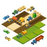 Isometric γεωργικός εξοπλισμός, αγροτικά τρακτέρ απεικόνιση αποθεμάτων
