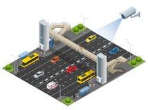 Isometric για τους πεζούς γέφυρα με έναν ανελκυστήρα πέρα από την εθνική οδό Σύνολο της isometric για τους πεζούς γέφυρας με έναν ελεύθερη απεικόνιση δικαιώματος
