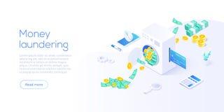 Isometric διανυσματική απεικόνιση ξεπλύματος χρημάτων Δωροδοκία και παράνομο υπόβαθρο επιχειρησιακής έννοιας με το έγγραφο πλύσης απεικόνιση αποθεμάτων