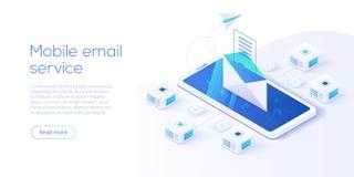 Isometric διανυσματική απεικόνιση υπηρεσίας αποστολής ηλεκτρονικών μηνυμάτων Ηλεκτρονικό ταχυδρομείο mes ελεύθερη απεικόνιση δικαιώματος