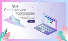 Isometric διανυσματική απεικόνιση υπηρεσίας αποστολής ηλεκτρονικών μηνυμάτων διανυσματική απεικόνιση