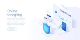 Isometric διανυσματική απεικόνιση on-line αγορών ή ηλεκτρονικού εμπορίου INT ελεύθερη απεικόνιση δικαιώματος