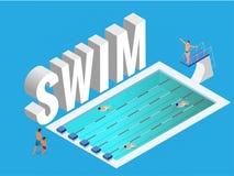 Isometric διανυσματική δημόσια αθλητική πισίνα ανοικτή Κολυμβητές αθλητών που εκπαιδεύουν στο μπλε νερό της λίμνης ελεύθερη απεικόνιση δικαιώματος