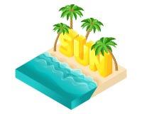 Isometric διανυσματικοί άνθρωποι κινούμενων σχεδίων, τρισδιάστατος ήλιος λέξης επιστολών, παραλία με τα όμορφα κύματα θάλασσας κα ελεύθερη απεικόνιση δικαιώματος