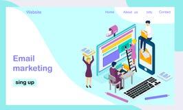 Isometric διανυσματικό προσγειωμένος πρότυπο σελίδων για το μάρκετινγκ ηλεκτρονικού ταχυδρομείου ελεύθερη απεικόνιση δικαιώματος
