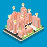 Isometric διανυσματικό σχέδιο πόλεων στο μπλε υπόβαθρο Στοκ Εικόνες