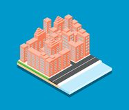 Isometric διανυσματικό σχέδιο πόλεων στο μπλε υπόβαθρο Στοκ Εικόνα