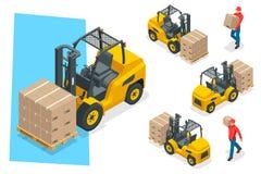 Isometric διανυσματικό forklift φορτηγό που απομονώνεται στο λευκό Σύνολο εικονιδίων εξοπλισμού αποθήκευσης Forklifts σε διάφορου Στοκ φωτογραφία με δικαίωμα ελεύθερης χρήσης
