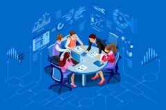 Isometric διοικητική έννοια ομάδων ανθρώπων απεικόνιση αποθεμάτων