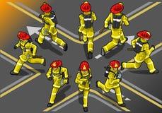 Isometric εθελοντής πυροσβέστης δρομέων στη θέση οκτώ διανυσματική απεικόνιση