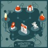 Isometric εικονίδια έννοιας χειμερινού χρώματος Στοκ Εικόνες