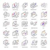 Isometric εικονίδια ασφάλειας Cyber ελεύθερη απεικόνιση δικαιώματος