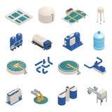 Isometric εικονίδια καθαρισμού απόβλητου ύδατος καθορισμένα απεικόνιση αποθεμάτων