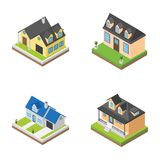 Isometric εικονίδια οικοδομήσεων διανυσματική απεικόνιση