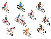 Isometric εικονίδια ποδηλατών καθορισμένα διανυσματική απεικόνιση