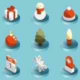 Isometric εικονίδια χειμερινού χρώματος Στοκ φωτογραφίες με δικαίωμα ελεύθερης χρήσης