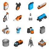Isometric εικονίδια βιομηχανίας πετρελαίου Στοκ Φωτογραφία