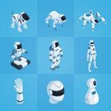Isometric εικονίδια ρομπότ καθορισμένα Στοκ Φωτογραφίες