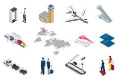 Isometric εικονίδια ταξιδιού και μεταφορών αερολιμένων Απομονωμένοι άνθρωποι, τερματικό αερολιμένων, αεροπλάνο, ταξιδιωτικός άνδρ Στοκ Εικόνα