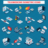 Isometric εικονίδια τηλεϊατρικής καθορισμένα Στοκ εικόνες με δικαίωμα ελεύθερης χρήσης