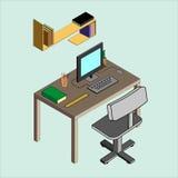 Isometric εικόνα του εργασιακού χώρου Στοκ Εικόνες
