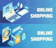Isometric εμβλήματα on-line αγορών διανυσματική απεικόνιση