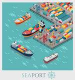 Isometric εμπορικός θαλάσσιος λιμένας ελεύθερη απεικόνιση δικαιώματος