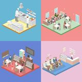 Isometric επίπεδο εσωτερικό της κουζίνας γλυκός-καταστημάτων, καφέδων, καντίνων και εστιατορίων διανυσματική απεικόνιση