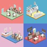Isometric επίπεδο εσωτερικό της κουζίνας γλυκός-καταστημάτων, καφέδων, καντίνων και εστιατορίων ελεύθερη απεικόνιση δικαιώματος