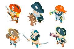 Isometric επίπεδο σχέδιο χαρακτήρων παιχνιδιών θησαυρών φαντασίας RPG ναυτικών θαλασσόλυκων κωλυσιεργίας πειρατών πειρατών πληρωμ διανυσματική απεικόνιση